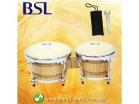 BSL Bongo 7 & 8 Inch Tunable Percussion Drum Latin Full Wood High Quality