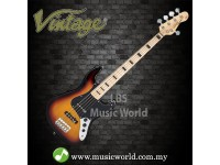 VINTAGE VJ75 MAPLE BOARD REISSUED BASS GUITAR 5-STRING SUNBURST