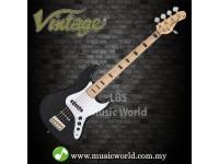 VINTAGE VJ75 MAPLE BOARD REISSUED BASS GUITAR 5-STRING - BLACK