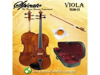 Spicato Italy Viola VL-101 15 Inch Intermediate Viola Bundle With Carrying Bag Bow Rosin