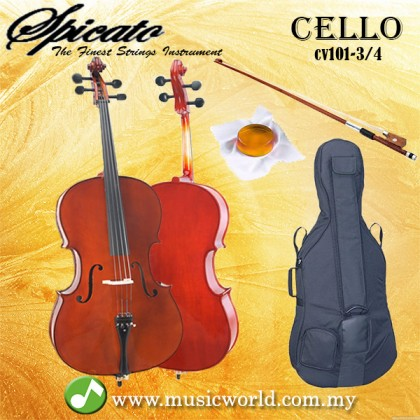 Spicato Italy Cello CV101 Three Quarters Size 3/4 Cello intermediate Cello With Bag Bow Rosin