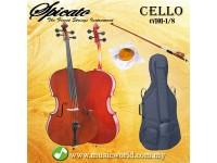 Spicato Italy Cello CV101 One Eighth Size 1/8 Cello intermediate Cello With Bag Bow Rosin