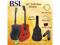 BSL 41 Inch Red Acoustic Guitar Full Size Guitar Package With Bag Strap Pick String Allen Key