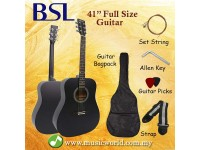 BSL 41 Inch Black Acoustic Guitar Full Size Guitar Package With Bag Strap Pick String Allen Key
