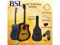 BSL 41 Inch Sunburst Acoustic Guitar Full Size Guitar Package With Bag Strap Pick String Allen Key
