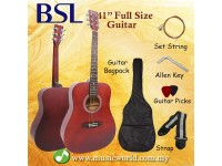 BSL 41 Inch Full Red Acoustic Guitar Full Size Guitar Package With Bag Strap Pick String Allen Key