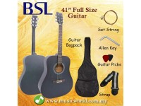 BSL 41 Inch Green Acoustic Guitar Full Size Guitar Package With Bag Strap Pick String Allen Key