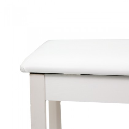 BSL Q100H White Piano Bench Leather Padded Double Set Digital Keyboard WIth Storage Box