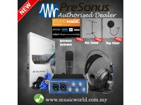Presonus AudioBox 96 Studio Package Pop Filter Mic Stand Complete Hardware Software Recording Kit
