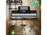 Casio CTK-7200 61 Key Portable Keyboard With Stand and Bench (CTK7200 / CTK 7200)