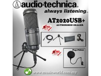 Audio Technica AT2020USB+ Cardioid Condenser USB Microphone With Pop Filter (AT2020 USB)