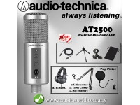 Audio Technica ATR2500-USB Cardioid Condenser USB Microphone Headphone Pack (ATR2500 USB)