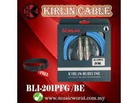 Kirlin BLI-201PFG /BE 3 Meter BlueLine Gold Plated Instrument Cable Electric Guitar Amp Keyboard Bass Amplifier Drum Cable Blue