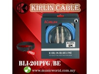 Kirlin BLI-201PFG /BE 6 Meter BlueLine Gold Plated Instrument Cable Electric Guitar Amp Keyboard Bass Amplifier Drum Cable Blue