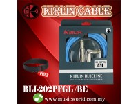 Kirlin BLI-202PFGL /BE 3 Meter BlueLine L Gold Plated Instrument Cable Electric Guitar Amp Keyboard Bass Amplifier Drum Cable Blue