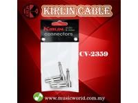 Kirlin CV-2359 1/4 Inch L Rt Angle Mono Plug Cable Contact Head Mono Jack Pairs
