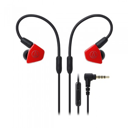 Audio Technica ATH-LS50iS RD Red Live Sound In Ear Monitor Headphone Earphone (LS50iS)