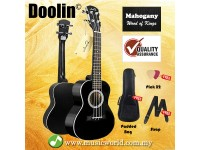 BSL Doolin DL-23H 23 inch Concert Ukulele Full Black Mahogany Package