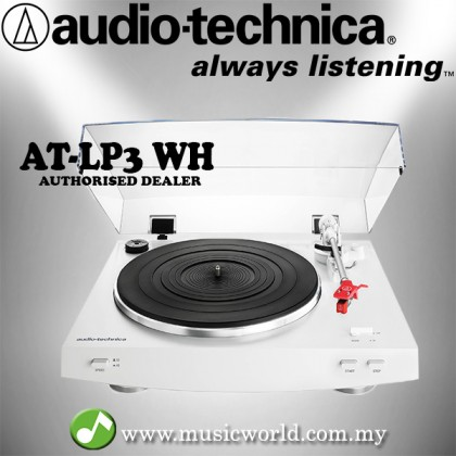 Audio Technica AT-LP3WH White Fully Automatic Belt-Drive Stereo Turntable Black Disc Player (ATLP3WH)