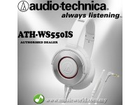 Audio-Technica ATH-WS550iS WH White Solid Bass Over Ear Headphones with in-line Mic (WS550iS)