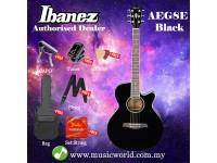 Ibanez AEG8E-BK Black High Gloss Acoustic Electric Guitar With Pickup (AEG8E)