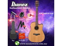 Ibanez Artwood AW70ECE-LG Natural Low Gloss Acoustic-Electric Guitar (AW70ECE)