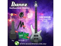 Ibanez  SR300E-PFM Pearl Black Fade Metallic 4-String Electric Bass Guitar (SR300E)