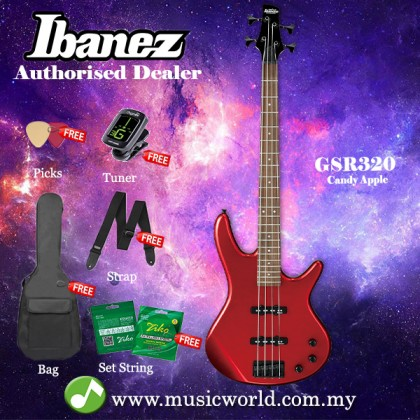 Ibanez Gio GSR320-CA Candy Apple Red 4-string Bass Guitar (GSR320)