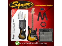 Fender Squier Affinity Series HSS Stratocaster Guitar Pack w/Frontman 15G Amplifier (Candy Apple Red)Fender Squier Affinity Series HSS Stratocaster Guitar Pack w/Frontman 15G Amplifier (Brown Sunburst)