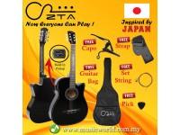 ZTA 38 Inch Acoustic Guitar Black EQ Pickup Cutaway Starter Pack Folk Guitar Bundle With Plug In Amp Equalizer