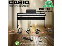 CASIO CDP135 88 Key Digital Piano Keyboard Professional Bundle With Keyboard Bench (CDP-135 / CDP 135)