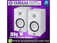 "Yamaha HS5 White 5"" 2-way Powered Studio Monitor Speaker Cabinet 70W with Woofer and 1"" Tweeter HS 5 (Pair)"