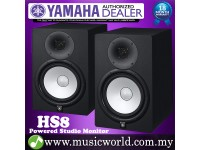 "Yamaha HS8 8"" Black Powered Studio Monitor Speaker Cabinet 120W with 8"" Cone Woofer (Pair)"