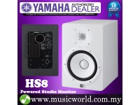 "Yamaha HS8 8"" White Powered Studio Monitor Speaker Cabinet 120W with 8"" Cone Woofer (Each)"
