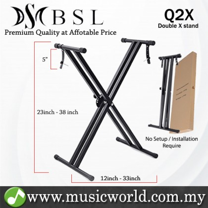 BSL Q-2X Double X Adjustable Keyboard Stand Heavy Duty Electric Organ Digital Piano Stand