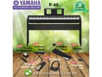 YAMAHA P-45 88 KEYS DIGITAL PIANO BUNDLE SET WITH BENCH PEDAL DUST COVER HEADPHONE (P45 / P 45)