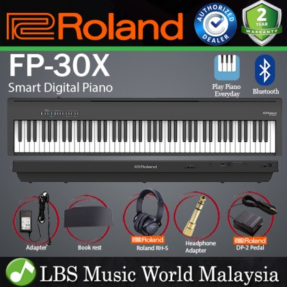 Roland FP-30X 88 Key Digital Piano Portable Package Electric Weighted Keyboard - Black (FP30X FP30 X FP 30X)