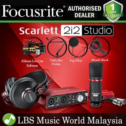 Focusrite Scarlett 2i2 Studio USB Audio Interface Recording Pack With Table Stand (2nd Gen)
