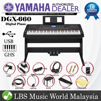 Yamaha DGX-660 Digital Piano Black Performance Package with Mic and Microphone Stand (DGX660 / DGX 660)