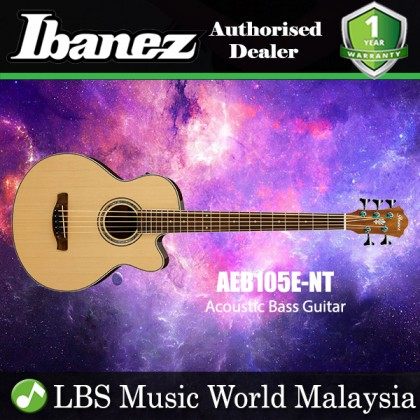 Ibanez AEB105E-NT Solid Top  Natural High Gloss Acoustic  Bass Guitar (AEB105E NT)