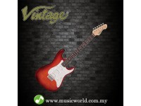 VINTAGE GUITAR V6H CUSTOM SPEC P90 HARDTAIL ELECTRIC GUITAR ~ FLAME CHERRY BURST