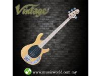 VINTAGE GUITAR REISSUED V96 4-STRING ACTIVE BASS ~ NATURAL