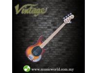 VINTAGE GUITAR REISSUED V96 5-STRING ACTIVE BASS ~ FLAMED TOBACCO SUNBURST