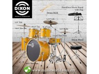 Dixon Spark Drum Set Complete Standard 5 Piece Drum Kit Bundle Misty Gold