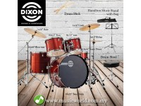 Dixon Spark Drum Set Complete Standard 5 Piece Drum Kit Bundle Cyclone Red