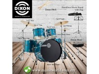 Dixon Spark Drum Set Complete Standard 5 Piece Drum Kit Bundle Cyclone Blue