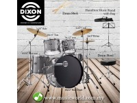 Dixon Spark Drum Set Complete Standard 5 Piece Drum Kit Bundle Cyclone Silver