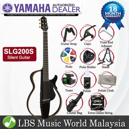 Yamaha SLG200S Silent Acoustic Electric Guitar Steel String With Pickup Translucent Black (SLG200 SLG 200S)