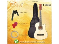 EVO T-38C Natural Acoustic Guitar 38 Inch Beginner Guitar Student Guitar Free Bag String Pick Strap
