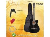 EVO T-38C Black Acoustic Guitar 38 Inch Beginner Guitar Student Guitar Free Bag String Pick Strap